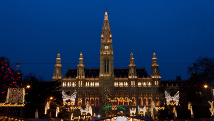 The Vienna City Hall (Rathaus) with Christmas Market