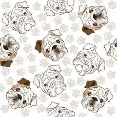 Vector seamless pattern with English Bulldog and traces.
