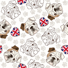 Vector seamless pattern with English Bulldog, traces  and Heart