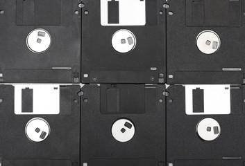Black computer diskettes. Photo.