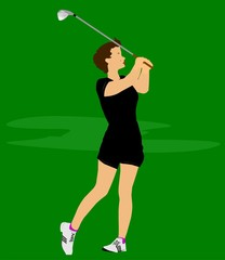 golfer lady with iron in black shorts