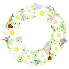 Vector floral frame. Illustration with floral wreath and with pl