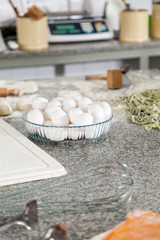 Egg Bowl And Spaghetti Pasta On Countertop