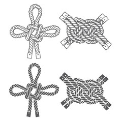 Set of marine  knots. Vector isolated  elements on a white backg