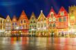Leinwanddruck Bild - Christmas Old Market square in the center of Bruges, Belgium