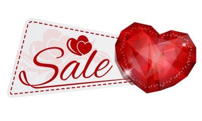 sale sticker with gem heart
