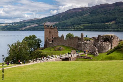Leinwanddruck Bild Urquhart Castle beside Loch Ness in Scotland, UK.