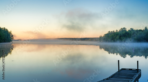 Toddy Pond, Maine with mist and wharf - 75750642