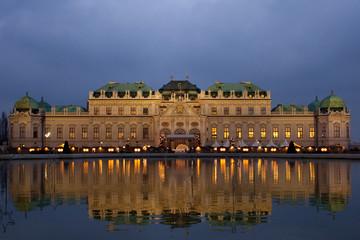 Schloss Belvedere at night in Vienna, Austria.