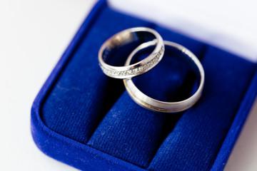 Wedding rings in a dark blue velvet etui