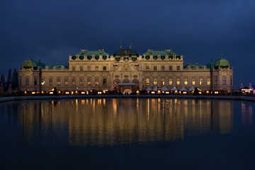 Schloss Belvedere at night in Vienna, Austria.