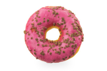 Donut with icing on a white background