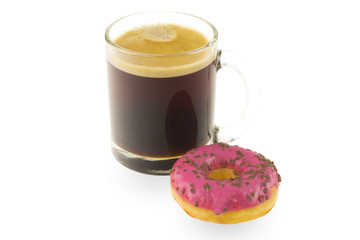 Mug coffee and donuts on a white background