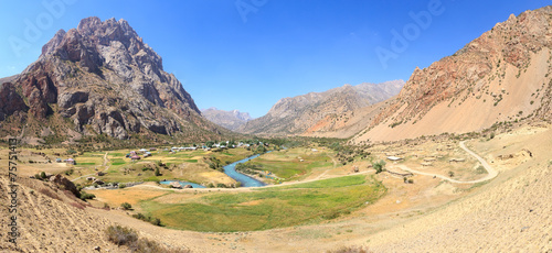 Saritag village. Panorama. Pamir, Tajikistan © nikitamaykov