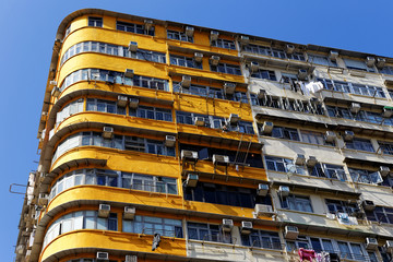 Old apartments in Hong Kong at day
