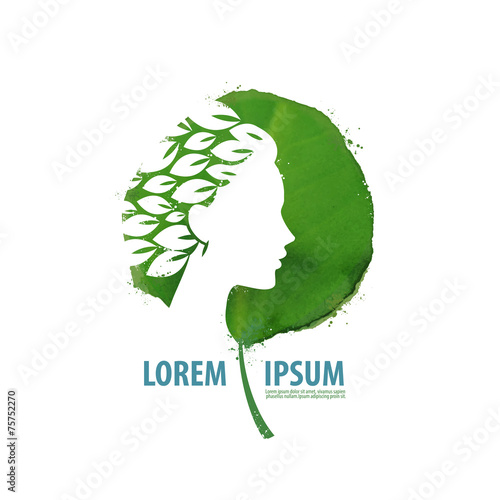 Nature and girl. Logo, icon, sign, emblem, template