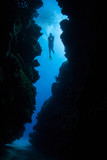 Underwater Crevice and Scuba Diver