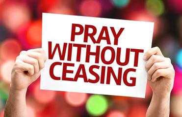 Pray Without Ceasing card with colorful background
