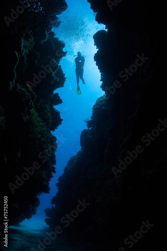 Fotobehang Koraalriffen Underwater Crevice and Scuba Diver