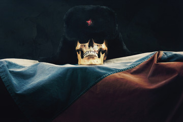 Skull with Russian Federation Flag and old russian Uschanka