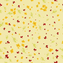 Vector seamless cute floral pattern in childish style EPS10