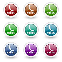 call us web icons colorful set