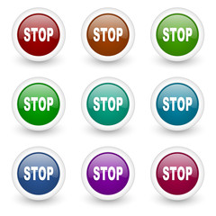 stop web icons colorful set