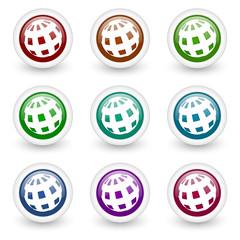 globe web icons colorful vector set