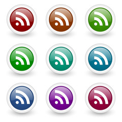 rss web icons colorful vector set