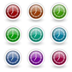 clock web icons colorful vector set