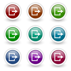 exit web icons colorful vector set