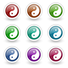 ying yang web icons colorful vector set