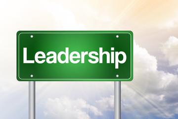 Leadership Green Road Sign, business concept