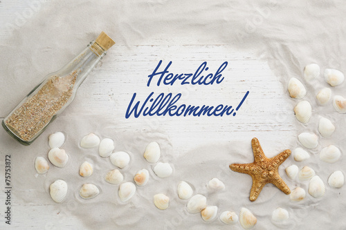 canvas print picture Herzlich Willkommen