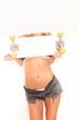 canvas print picture - Frau leicht bekleidet mit Skateboard