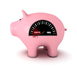 Piggy bank with fuel gauge