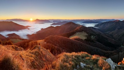 Slovakia mountain peak Osnica at sunrise
