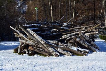 Circulo de troncos en la nieve