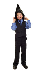 boy in suit with briefcase on his head