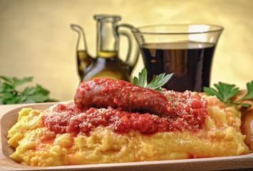 Italian polenta with tomato sauce and sausage
