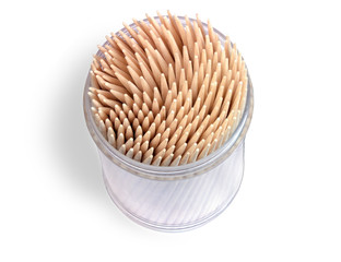 wooden toothpicks in a container