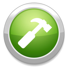 Hammer sign icon. Repair service button.