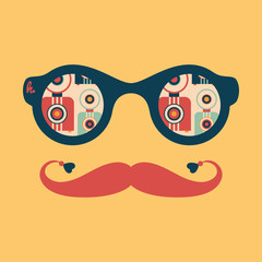 Hipster vintage sunglasses with colorful retro cameras.