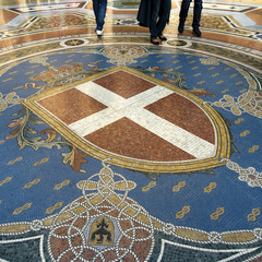 Mosaic floor of Vittorio Emanuele gallery in Milan
