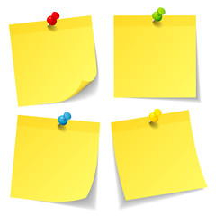 4 Color Yellow Stick Notes Colored Pins