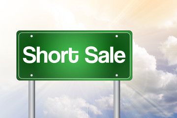 Short Sale Green Road Sign, business concept