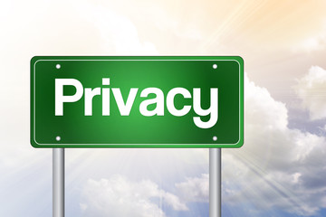 Privacy Green Road Sign, business concept