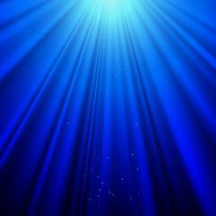 Light Rays on a Blue Background. Stock Vector Art