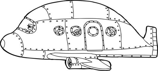 Outlined Passenger Plane