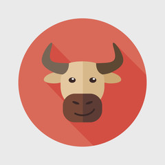 Bull flat icon with long shadow